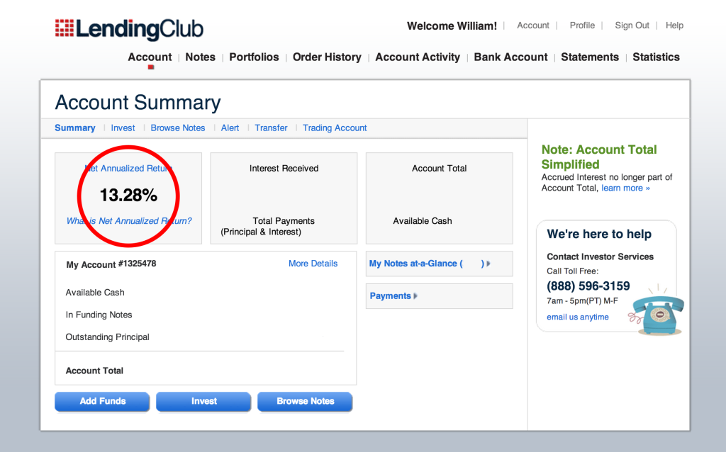 Lending Club return oct 22