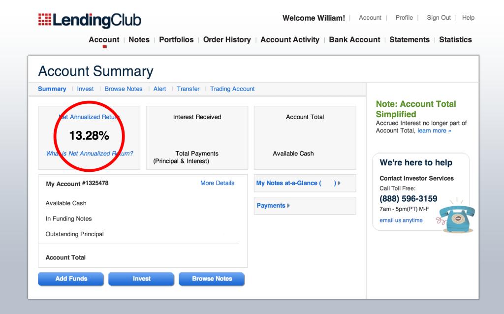 Lending Club return oct 22